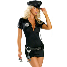 Women Sexy Police Woman Costume Adult Female Halloween Cop Cosplay Carnival Fancy Dress Outfit