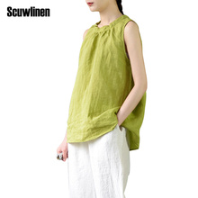 SCUWLINEN 2018 Women Summer Crop Tops Solid 100% Ramie Vest Loose Sleeveless Tank Tops Vestidos Casual Blusa Female S359