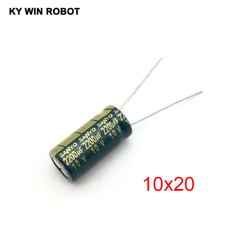 10pcs 10V 2200UF Electrolytic Capacitors 2200UF 10V 10x20mm 105C Radial High-frequency Low Resistance Electrolytic Capacitor