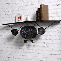 Retro Aircraft Model Creative Wall Clock Stores Clothing Store Children Room Wall Decorations Hanging Wall Decoration Creative