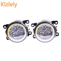For Renault DUSTER Closed Off Road Vehicle 2012 2015 Angel Eye LED Fog Lamp 9CM Daytime