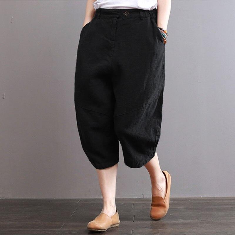 Plus Size ZANZEA Women Vintage Elastic Waist Pockets Baggy   Capris     Pants   2018 Summer Casual Solid Cotton Linen Wide Leg Trousers