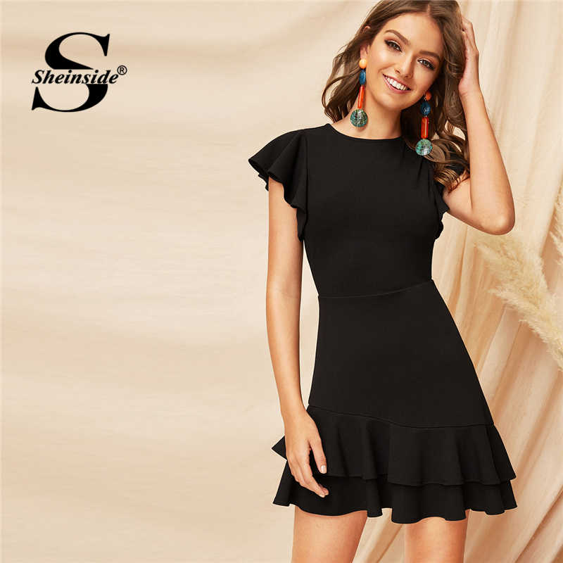 Sheinside Black V-Back Tiered Layered Dress For Women Elegant Ruffle Hem Flutter Sleeve Mini Dresses 2019 A Line Summer Dress