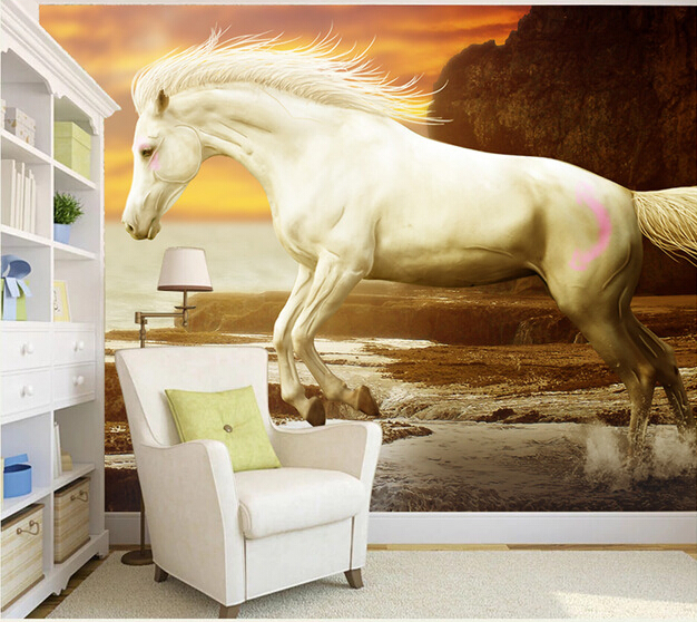 Custom horse wallpaper 3D, white horse murals for the living room TV background wall waterproof textile cloth papel de parede custom ceiling wallpaper blue sky and white clouds murals for the living room apartment ceiling background wall vinyl wallpaper