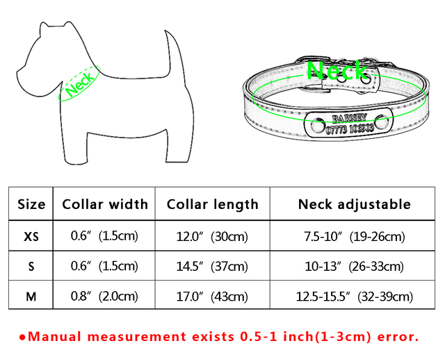 Leather Personalized Dog Cat Pet Name ID Collar