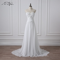ADLN Chiffon Beach Wedding Dresses Sweetheart Sleeveless Ruched Applique A Line Long Bridal Gowns Lace Up