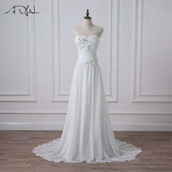 ADLN Cheap Bride Dresses Sleeveless Sweetheart Beach Chiffon Wedding Gowns Applique Beaded Pleats Wedding Dress Robe De Mariage
