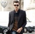 MWAMI Высокое Качество 2015 Мужчины 100% Шерсть Теплый Формальные Костюмы Куртки Мода Плед Super Slim Бизнес Свадьбу Жених Блейзеры