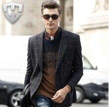 MWAMI High Quality 2015 Men 100% Wool Warm Formal Suits Jackets Fashion Plaid Super Slim Business Party Wedding Groom Blazers