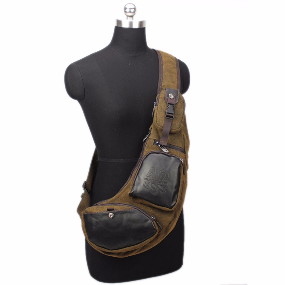 759f82190b20 Men Canvas PU Leather Travel Riding Motorcycle Cross Body Messenger Shoulder  Back Pack Sling Chest Bag