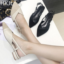 HKJL Womens summer 2018 button sexy womens pointy sandals with rubber soles in a solid color low-heeled A015