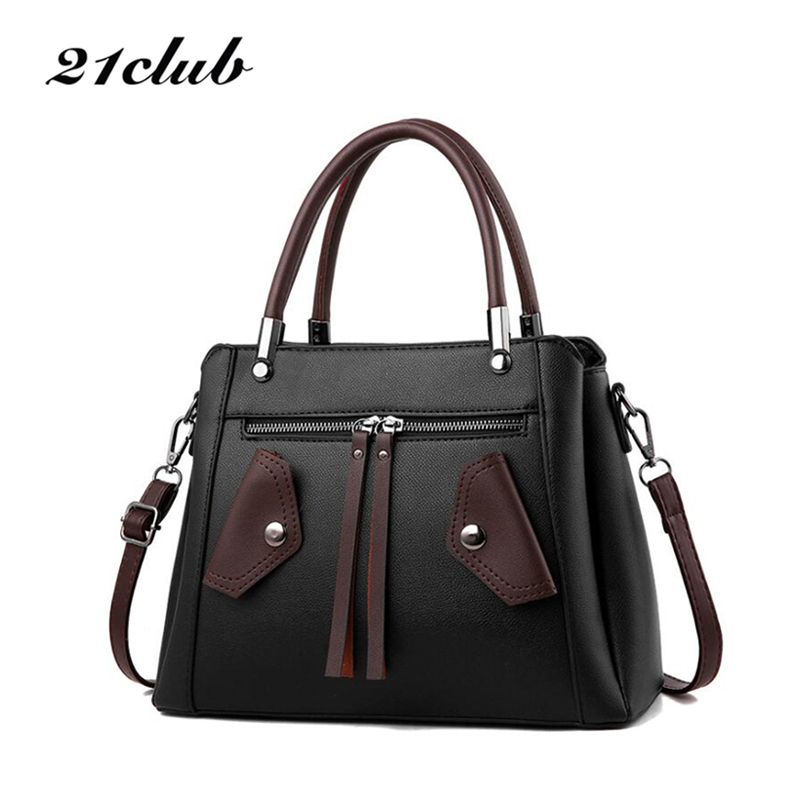 21club brand women new solid totes rivet medium handbag high quality lady party purse casual messenger crossbody shoulder bags кабельный щит brand new f98 85 58 33 sbd7781