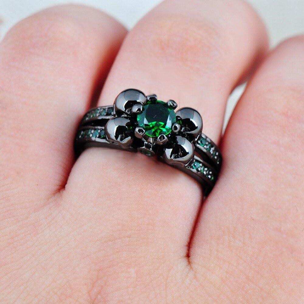 JUNXIN Fashion Female Skull Green Ring Black Gold Filled Jewelry ...