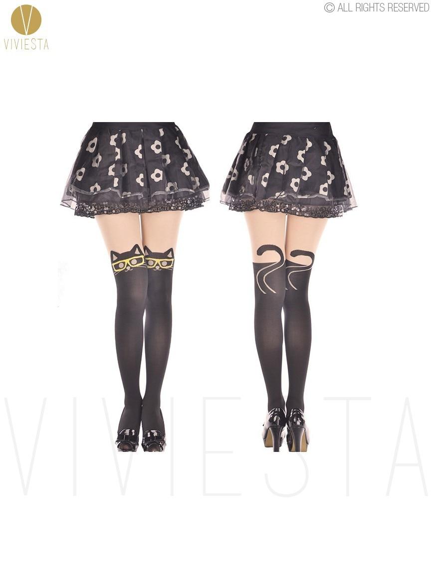 Cute Mock Knee High Cat Kitty Tattoo Tights Stocking Pantyhose Animal Print