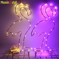 Meaningsfull Christmas Lights Flamingo Cactus Battery Led String Lights With Hook For Party Home Room Window