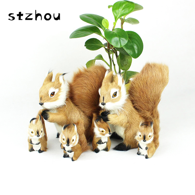 StZhou Lovely Simulation Squirrel Fur Toys Artificial Plush Toy Home Decoration Model For Photography Props  MS20170001 squatting pose large 20x32cm simulation poodle toy white fur dog model ornament photography prop home decoration gift h1402