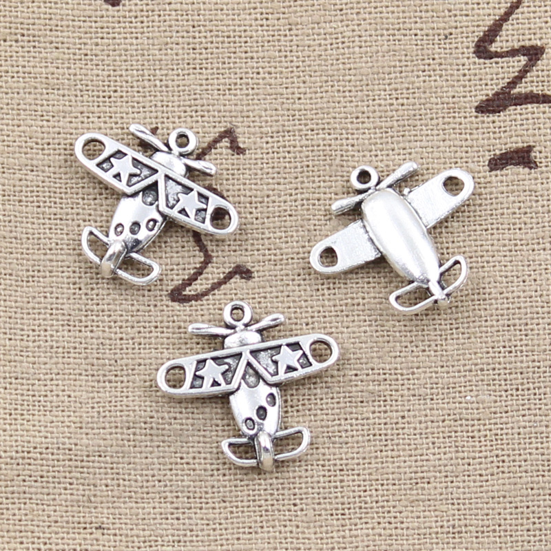 8pcs Charms Airplane Plane 18x19mm Antique Making Pendant fit,Vintage Tibetan Silver color,DIY Handmade Jewelry image
