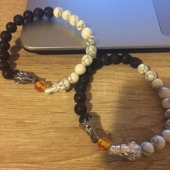 Natural Black Lava & White Howlite Stone Beads Bracelet Pulseira Masculina Mens Jewelry Buddha Dragon Bead Bracelet For Women 5