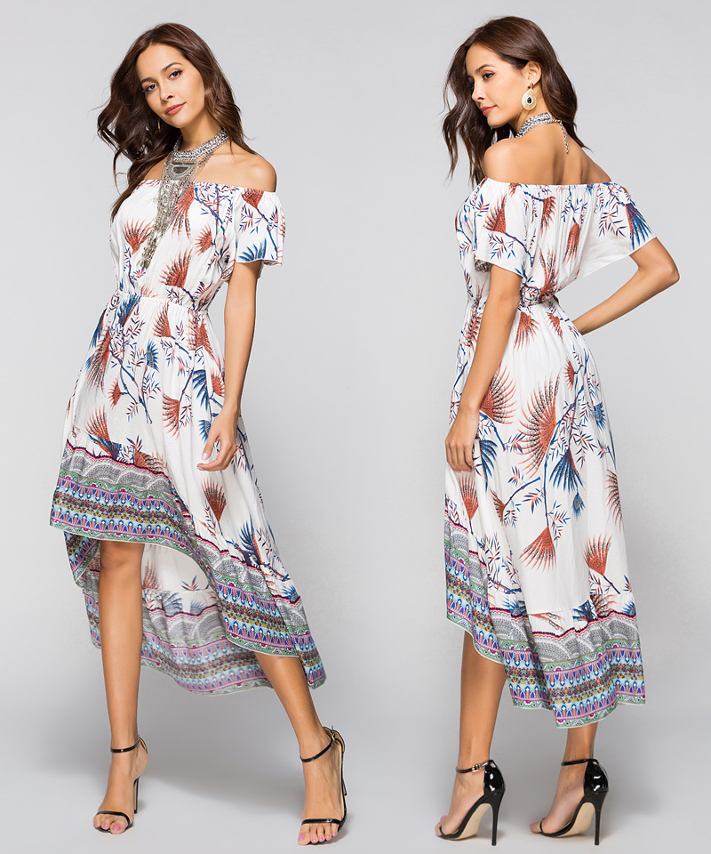 Women Summer Off Shoulder Bohemian Dress Boho Mid-Calf Wrap Dresses Casual Loose Beach Floral Print Beachwear Vestidos 9