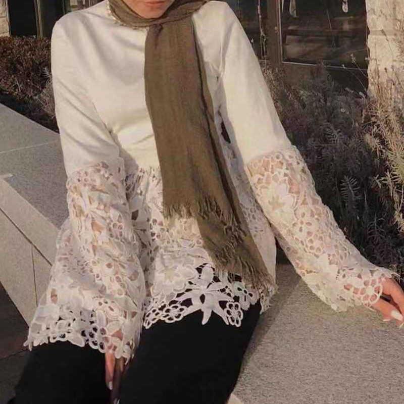 2019 primavera Abaya árabe Turquía Manset de encaje de ganchillo Tops largos Arabe Ropa Mujer Musulmana Turkiye saudí Top Ropa islámica