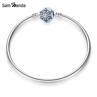 New Authentic 925 Sterling Silver Charms Bead Crystalized Snowflake Clip Blue Color Crystal Bangles Bracelets Fit