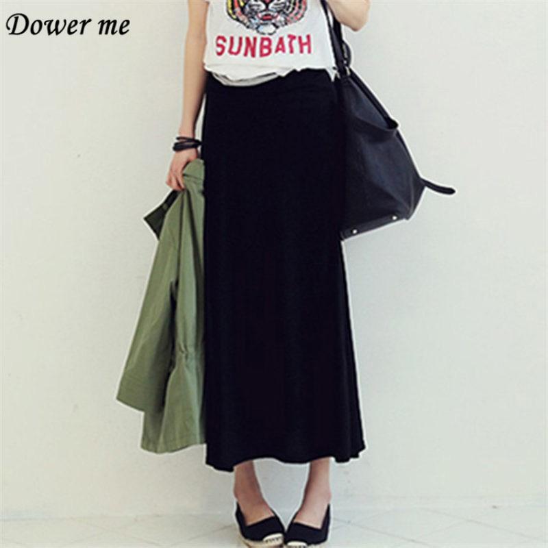 Plus Size Autumn Fashion Thin Big Swing Women Skirt Elegant Casual Simple Black Ladies Skirts YN1665