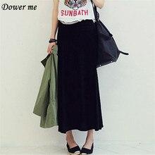 Плюс Размеры Осенняя мода тонкий большие качели Для женщин юбка элегантный Повседневное простые черные женские Юбки для женщин yn1665