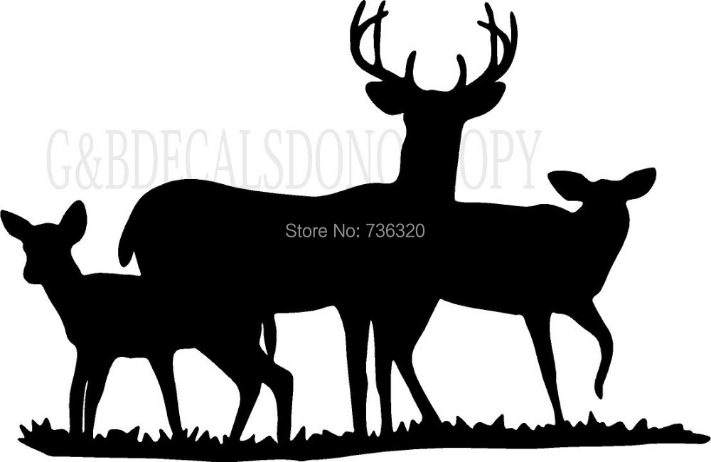 2015 new arrival tree deers wall sticker buck doe deer for Deer mural decal
