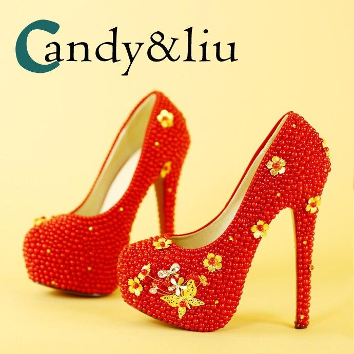 Chaussures de mariage originales chaussures habillées chinoises talons hauts femmes imperméable table perle cristal chaussures chaussures de mariage papillon