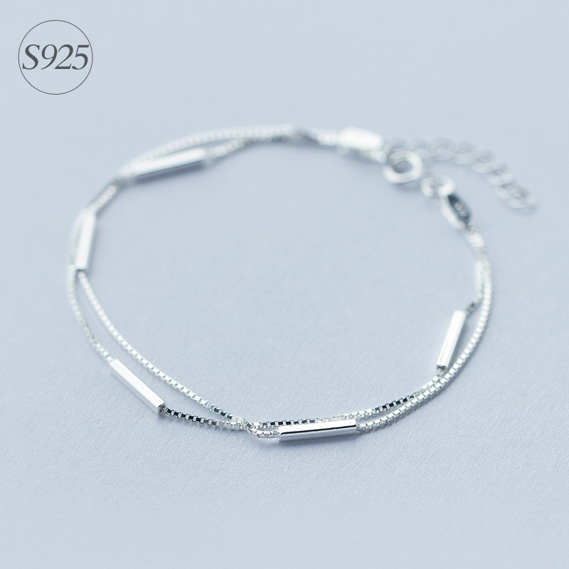 Lady's Minimalist REAL. 925 Sterling Silver Multi-Rows Double layers Geometric Sticks Bar Chain Bracelet Slim Jewelry GTLS316