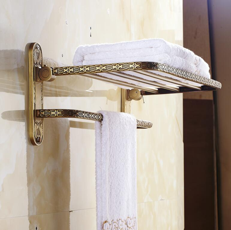 Free Shipping Wall Mount Retro Style Folding Bathroom Towel Rack ...