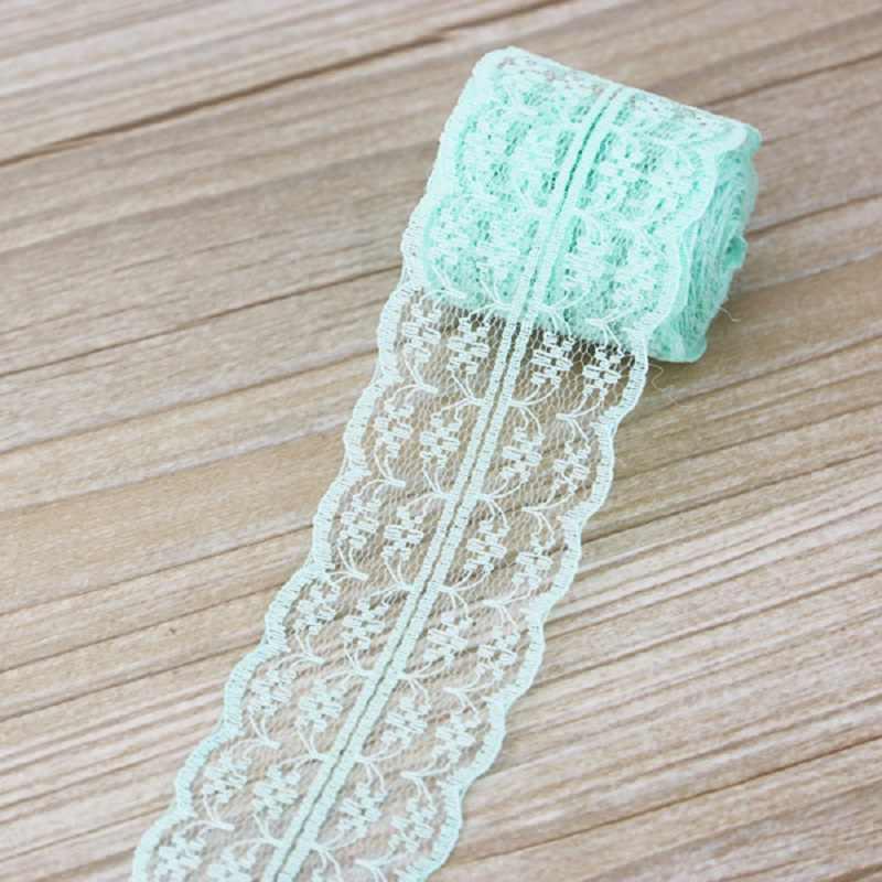 (5 ヤード/ロール) ライトグリーン色レース生地リボン装飾ギフト包装材料