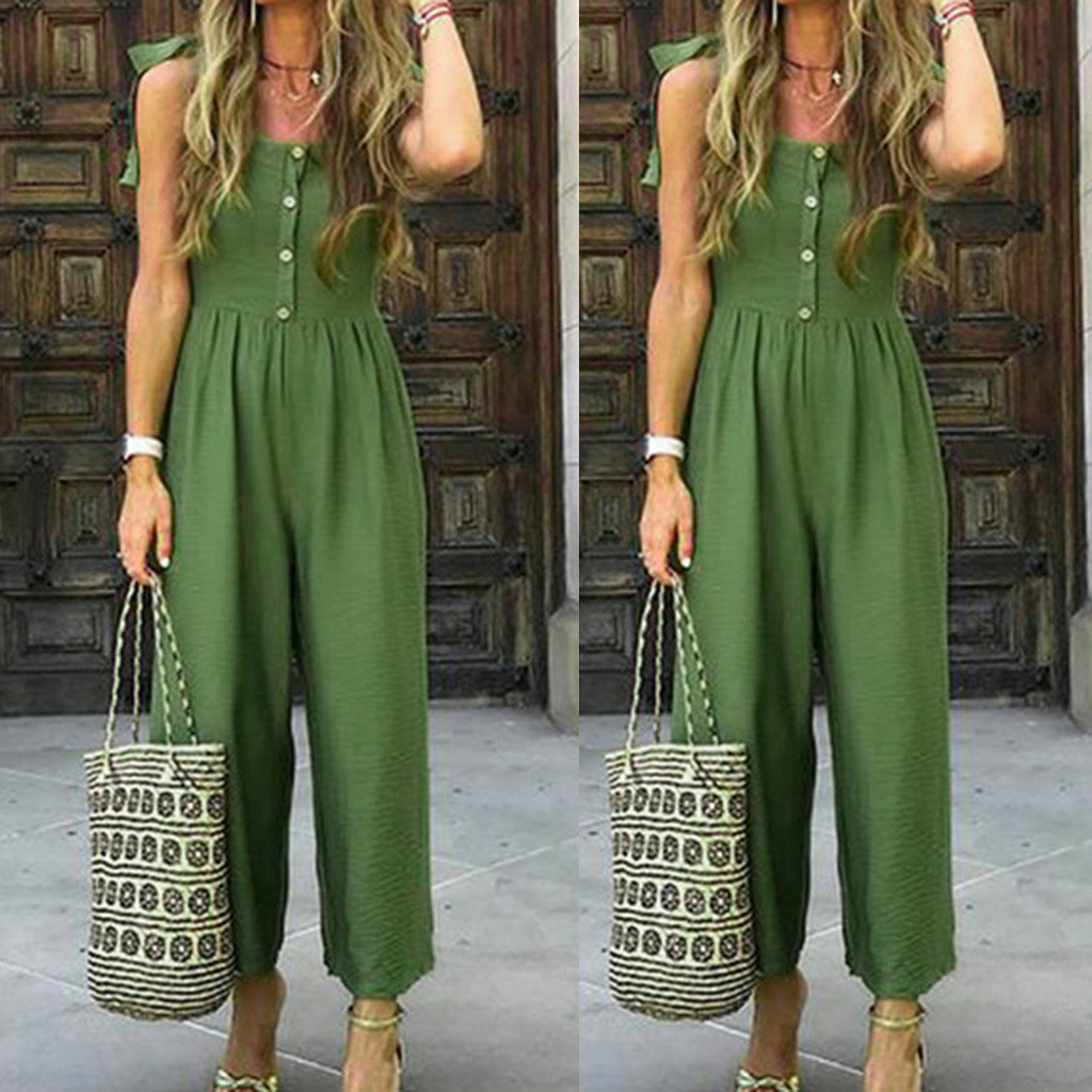 2019 New Green Simple Jumpsuit Womens Casual Summer Solid Color With Buttons Shoulder Strap Bandagws Casual Jumpsuit Overalls #C