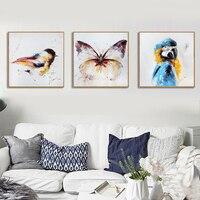 HAOCHU Hand Draw Cartoon Animal Parrot Butterflies Minimalist Art Canvas Painting Modern Home Children Room Giclee