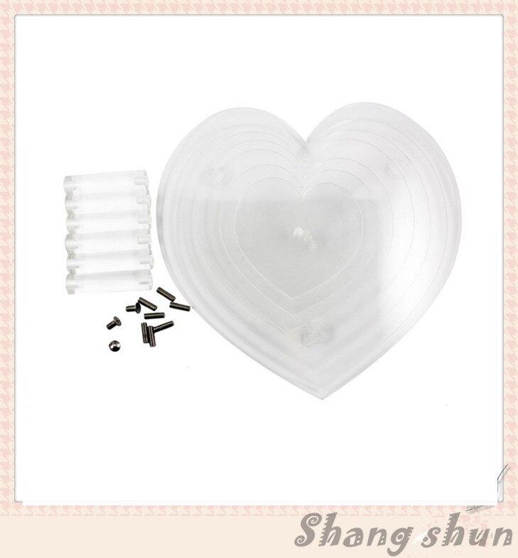 Free Shipping 7 Tier Heart Shape Acrylic Cake Stand Crystal Clear Acrylic Heart Cake Cupcake Stand Wedding Birthday Display