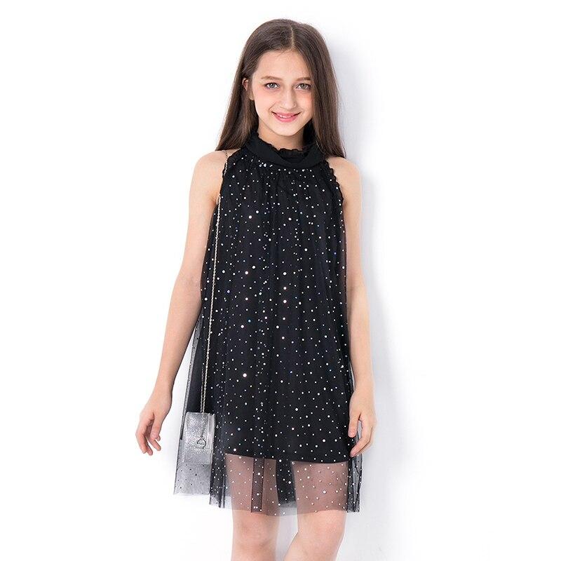 2018 crianças vestido de lantejoulas meninas adolescentes moda verão malha a linha vestidos crianças vestidos roupas para adolescente 6789 10 11 12 13 14y