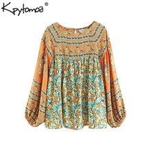 141e710f6a Boho Chic verano Vintage Floral impresión plisada Tops mujeres Blusas 2018  moda ropa linterna manga playa camisas Blusas Mujer