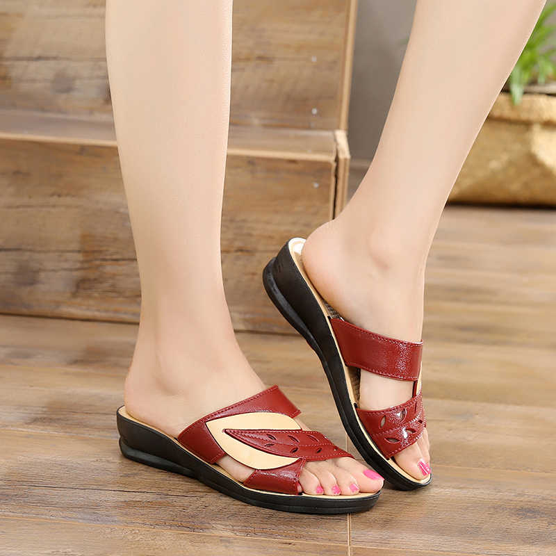Size 41 Fashion Summer Shoes Woman Sandals Leather Hollow Leaves Sandals Waterproof Beach Slippers Roman Gladiator Women's Shoe