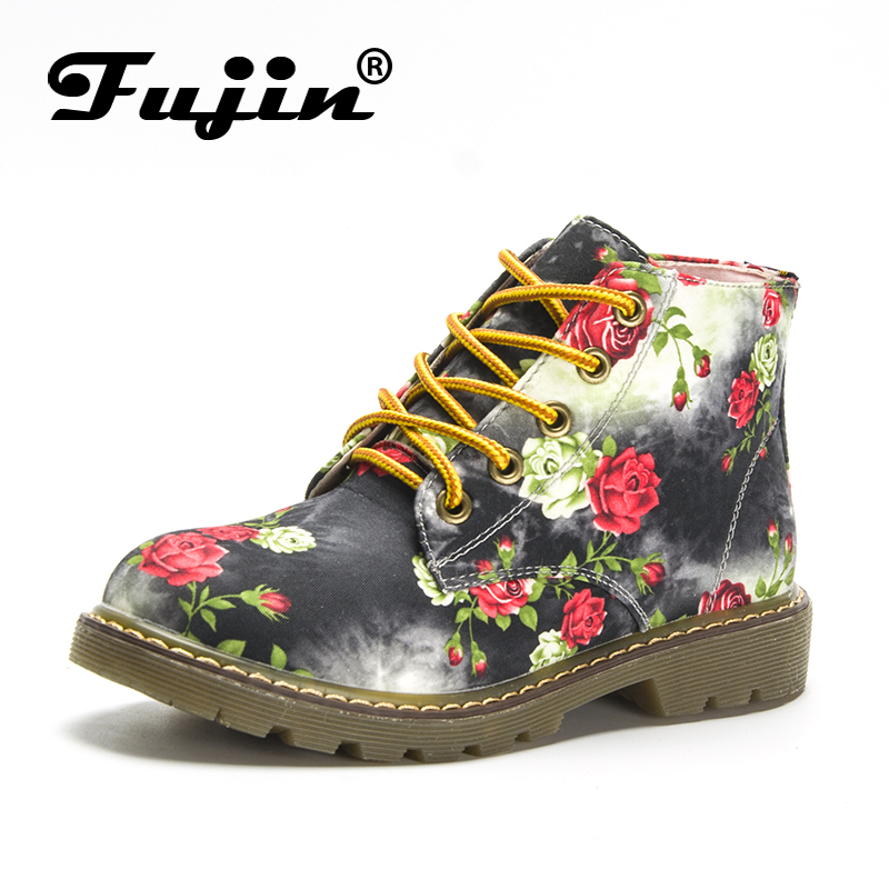 Fujin Brand 2018 Ankle Women Boots Pu Leather Flowers Shoes Comfortable Shoes Footwear Women Flats High Quality Winter Shoes