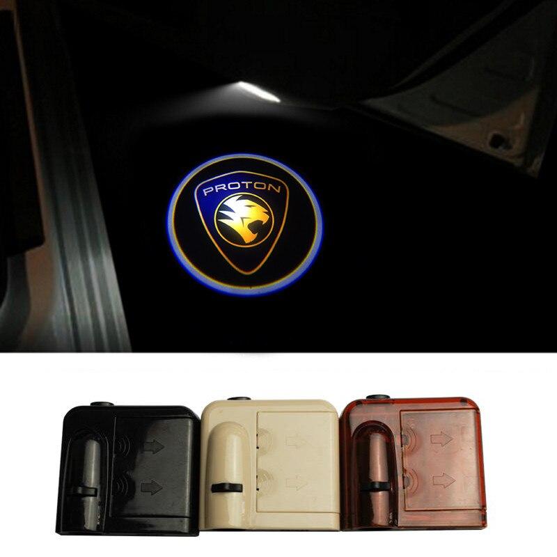 Zhudang Store 2X Wireless Car Door Light Ghost Shadow Welcome Light Logo LED Projector for Proton Neo Satria Exora Savvy Saga Waja Wira Gen2