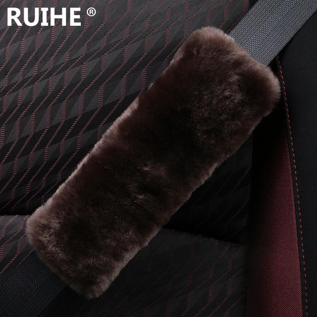 Cómodo y suave importado Australia pura lana asiento de coche cinturón de seguridad de hombro de la manga con un sistema de cobertura de seguro de automóvil decorativos