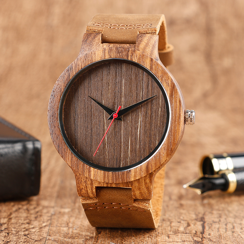 Creative Handmade Wooden Wristwatch Coffee Genuine Leather Band Strap Modern Men Women Analog Quartz Watch For Gift