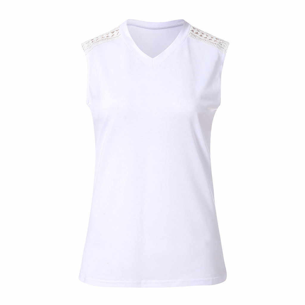 الصيف الإناث بلوزة المرأة مثير الدانتيل خياطة الصلبة الخامس الرقبة سترة دون أكمام الأبيض قميص بلوزة الإناث تونك قميص blusas