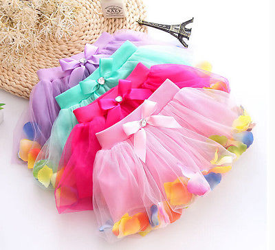 2016 Summer Hot-selling Baby Kids Girls Colorful Petals Bow Tutu Skirt Princess Party Tulle Gown FANCY Clothes 3-8Y