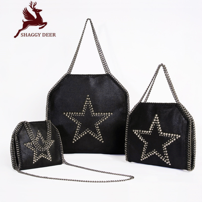 New  Brand Shaggy Deer Luxury Quality PVC Stella Rivet Star Chain Bag Lady Wedding Parting Causal Fold-Over Shopping Tote
