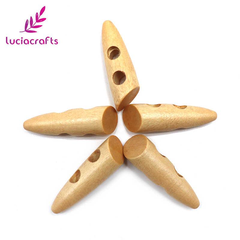 Lucia artesanato 6 pcs/12 pcs 46mm 2-Buracos Botão De Madeira Natural DIY Costura Scrapbooking Vestuário Roupas acessórios E0108