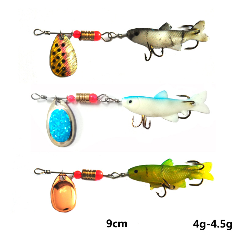 Image 3 - OLOEY soft bait Fishing Spoon Lures Spinner Spoon Bait Fishing  Spoons Metal Lure Rotating  Pesca Peche Treble Tackle-in Fishing Lures from Sports & Entertainment