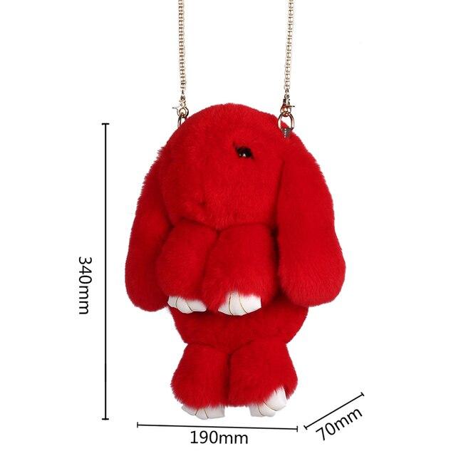 100% Rabbit Fur Handbags 2016 Winter Shoulder Bag Real Fur Handbag Women Messenger Bag Lovely Bunny Shoulder Bag Tote  ZD457