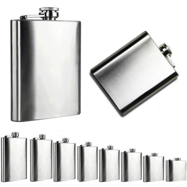 4/5/6/7/8/9/10/18 Oz flask Stainless Steel Pocket Hip Flask Alcohol Whiskey Liquor Screw Cap portable wine pot flagon Oct17