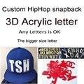 3D letras de acrílico Chapéus Adulto picos Aparafusadas rebites HipHop Hat Cap Homens Mulheres snapback do boné de beisebol Ajustável Boné de Beisebol Nome DIY
